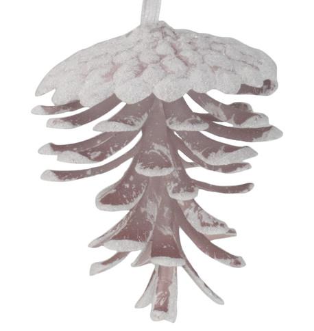 Glittered Blush Pine Cones Blush White