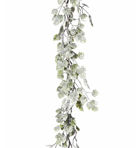 Snowy Grape Leaf Garland Green