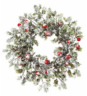 Snowy Holly Wreath - Green
