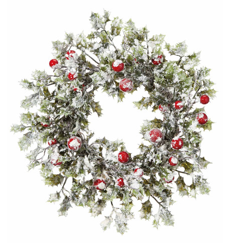 Snowy Holly Wreath Green