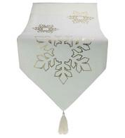 Gold Snowflake White Table Runner - Gold