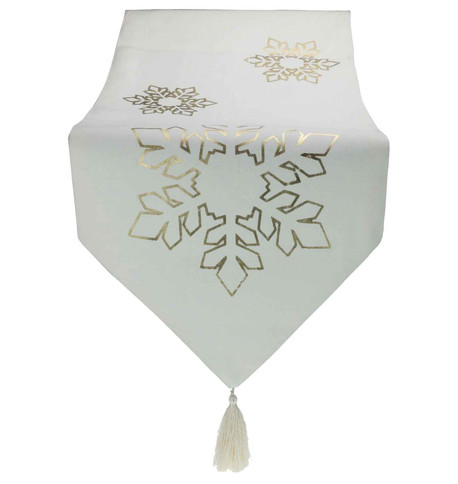 Gold Snowflake White Table Runner Gold