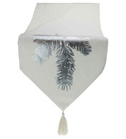 Silver Fir White Table Runner - Silver