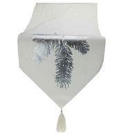 Silver Fir White Table Runner - Silver