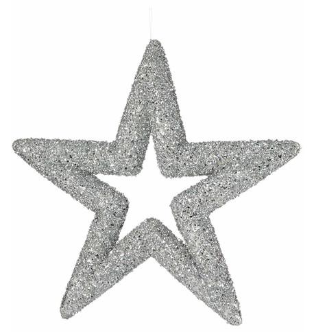 Silver Sequin Glitter Stars Silver