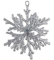 Silver GLITTERED CORAL SNOWFLAKE - Silver