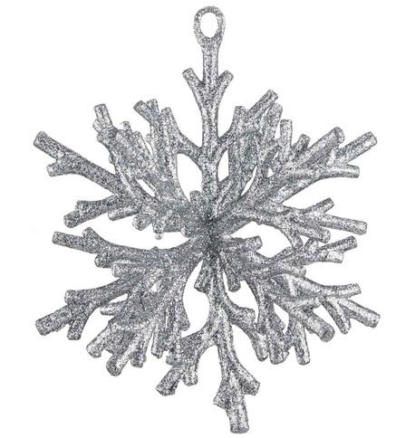Silver GLITTERED CORAL SNOWFLAKE Silver