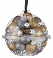 20mm Champagne glitter baubles - Gold