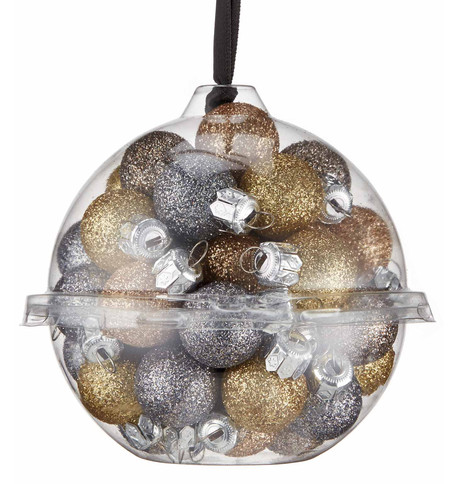 20mm Champagne glitter baubles Champagne