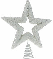 White Sequin Tree Topper - White