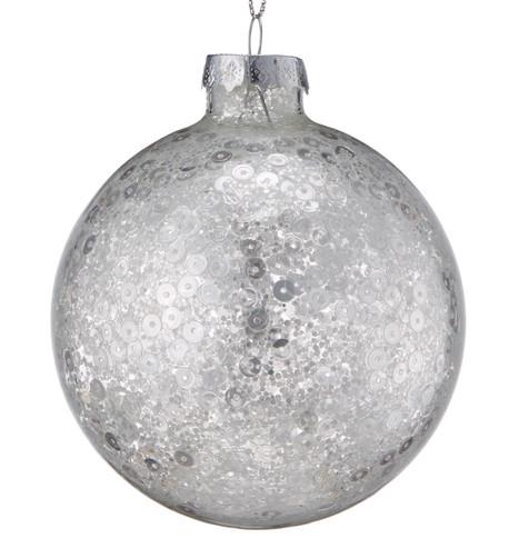 Silver Sequin Baubles Silver