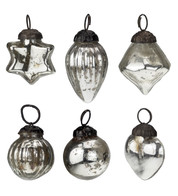 Mini Silver Glass Bauble Set - Silver