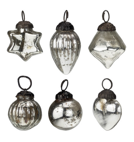 Mini Silver Glass Bauble Set Silver