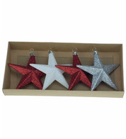 Red & White Glitter star set - Red, White & Silver