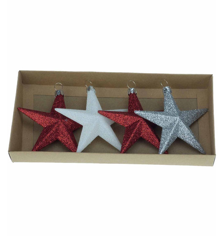 Red & White Glitter star set Red, White & Silver