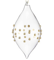 Gold Beaded Glass Drop - Gold