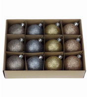 Champagne Glitter 48mm Baubles - Gold