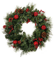 Berry, Apple & Pine Cone Wreath - Green