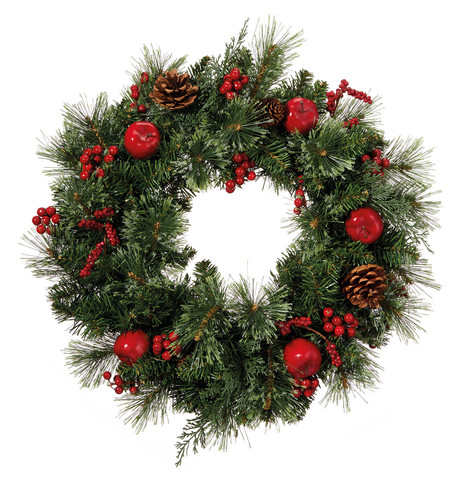 Berry, Apple & Pine Cone Wreath Green