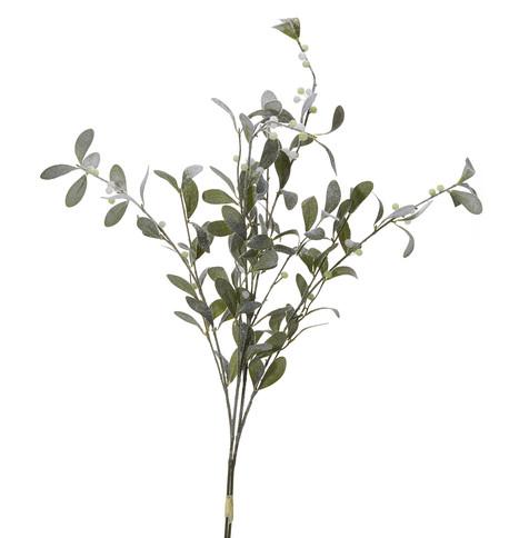 Flocked Mistletoe Spray Green