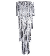 Giant Silver Sequin Chandelier - Silver