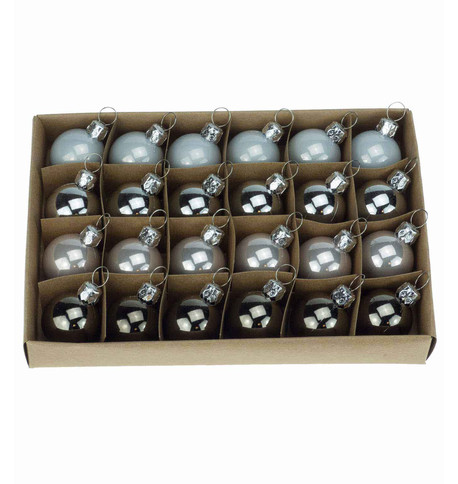 30mm BOXED BAUBLES - Silver mix Silver Mix