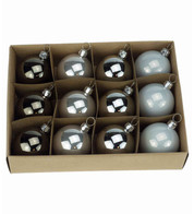 48mm BOXED BAUBLES - Silver Mix - Silver Mix