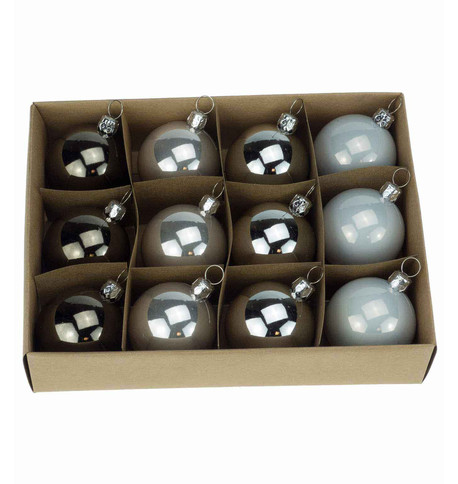 48mm BOXED BAUBLES - Silver Mix Silver Mix