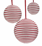 Striped Ribbon Baubles - Red and White