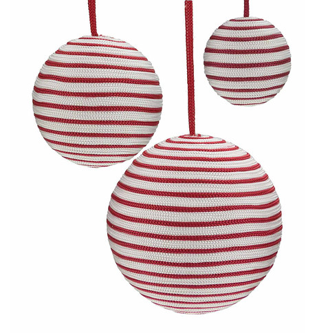 Striped Ribbon Baubles Red And White