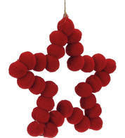 Pompom Stars 15cm - Red