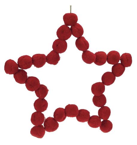 Red Pompom Stars 25cm Red