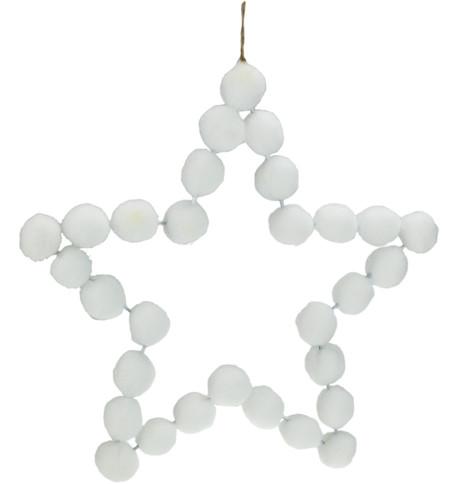 White Pompom Stars 25cm White