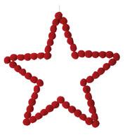 Red Pompom Stars 40cm - Red