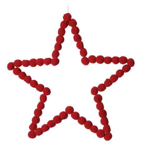 Red Pompom Stars 40cm Red