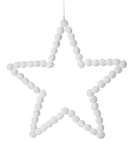 White Pompom Stars 40cm White