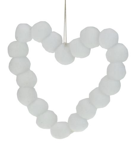 White Pompom Hearts 9cm White