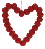 Red Pompom Hearts 9cm - Red