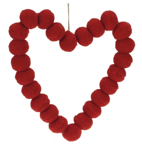 Red Pompom Hearts 9cm Red