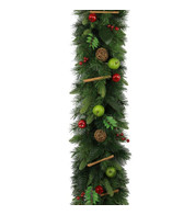 Luxury Garland with Apples & Rustic Decorations - Green