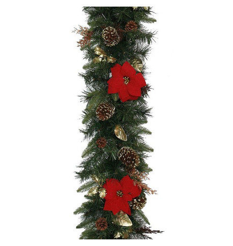 Luxury Red Poinsettia Garlands RED POINSETTIA