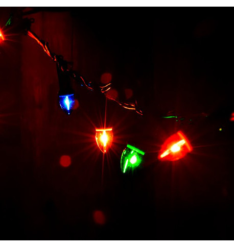 Traditional Filament Festoon Lights Multicolour On Green Cable
