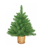 Mini Artificial Christmas Tree with Wicker Basket - Green