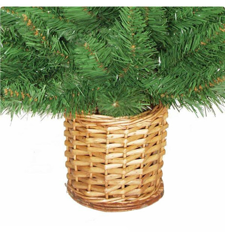 Mini Artificial Christmas Tree with Wicker Basket Green
