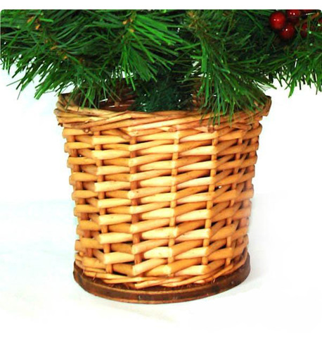 Mini Artificial Pine Cone and Berry Christmas Tree with Wicker Basket Green