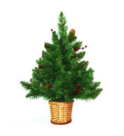 Mini Artificial Pine Cone and Berry Christmas Tree with Wicker Basket - Green