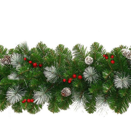 Frosted Christmas Garland with Pine Cones and Berries Green