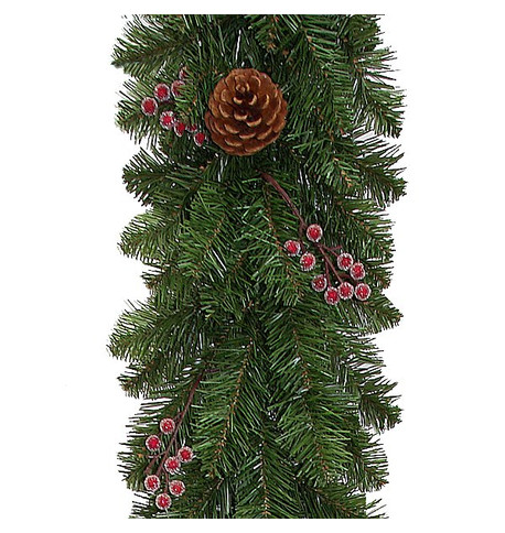 Pine Cone and Frosted Berry Christmas Garland Green
