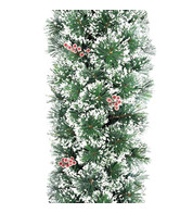Deluxe Frosted Christmas Garland with Red Berries - Green