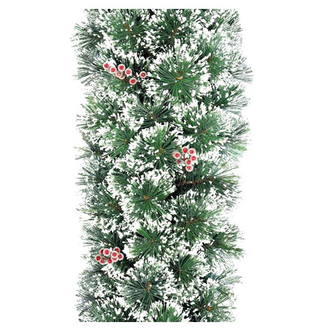 Deluxe Frosted Christmas Garland with Red Berries Green